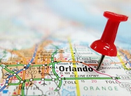Map with Pin in Orlando